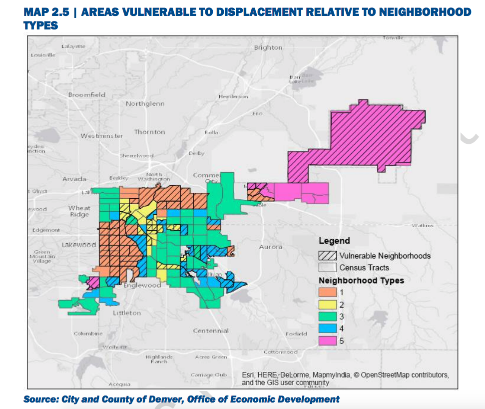 """A map included in """"Housing an Inclusive Denver."""""""