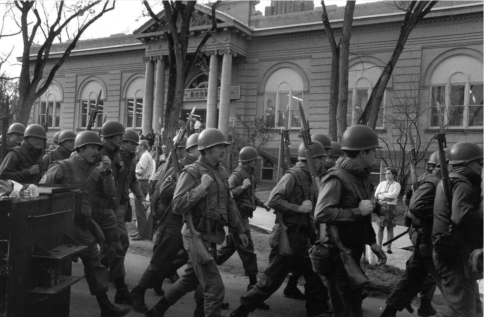 """National Guard troops at the University of Denver during the """"Woodstock West"""" protest of May 1970. (History Colorado/Denver Public Library)"""