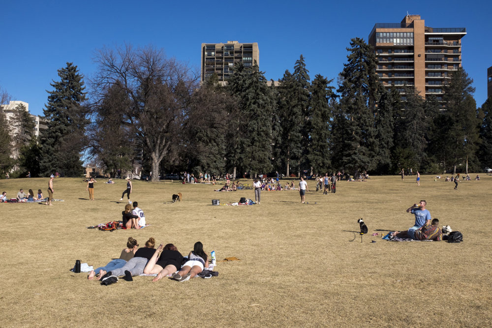 Cheesman Park on a lovely winter day, March 3, 2018. (Kevin J. Beaty/Denverite)