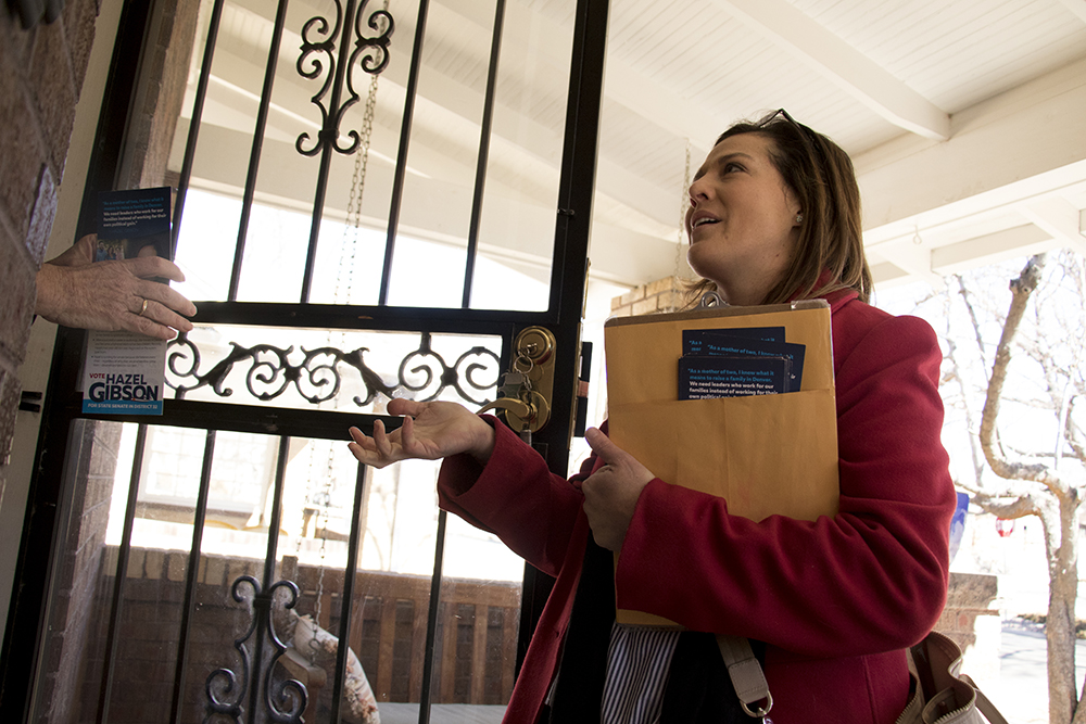Hazel Gibson canvasses in Washington Park, March 6, 2018. (Kevin J. Beaty/Denverite)  denver; colorado; denverite; kevinjbeaty; election; copolitics