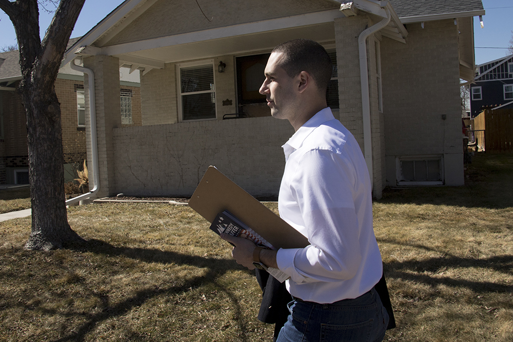 Alan Kennedy-Shaffer out canvassing in Highland, March 7, 2018. (Kevin J. Beaty/Denverite)  denver; colorado; denverite; kevinjbeaty; election; candidates;