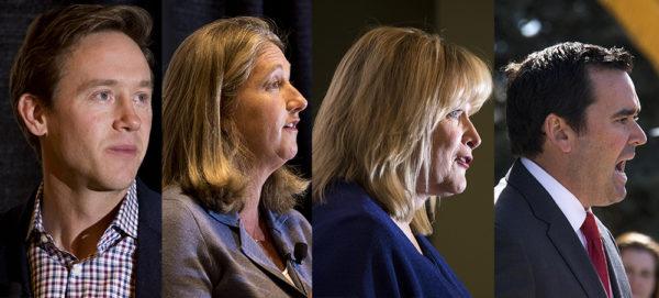 Gubernatorial candidates (left to right) Mike Johnston, Cary Kennedy, Cynthia Coffman and Walker Stapleton. (Kevin J. Beaty/Denverite)  election; denver; denverite; kevinjbeaty; colorado; copolitics;