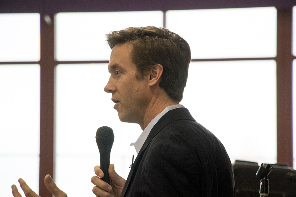 Mike Johnston at a town hall at North High School, March 15, 2018. (Kevin J. Beaty/Denverite)  denver; colorado; denverite; kevinjbeaty; copolitics; election;