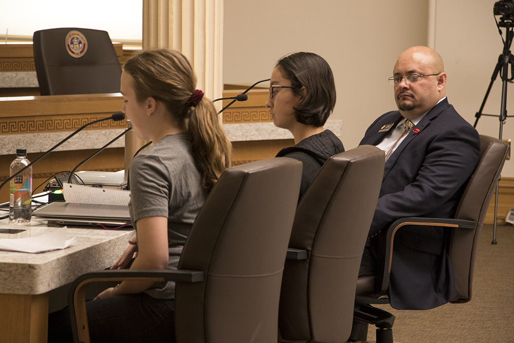 "State Rep. Joe Salazar (right) listens to testimony as a ""right to rest"" bill is considered by a Colorado State House committee, March 14, 2018. (Kevin J. Beaty/Denverite)  right to rest; homelessness; denver; denverite; kevinjbeaty; copolitics; colorado;"