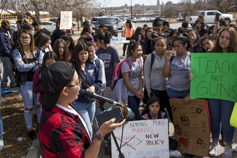 Maxx Yanez addresses the crowd. Students from KIPP Denver Collegiate High School walk out of class as part of a national protest against gun violence, March 14, 2018. (Kevin J. Beaty/Denverite)  protest; rally; denver; valverde; denverite; kevinjbeaty; colorado;