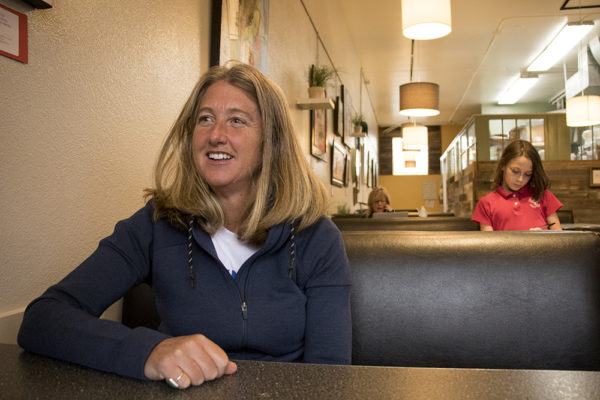 Cary Kennedy meets a reporter at Cake Crumbs Bakery and Cafe in North Park Hill, March 15, 2018. (Kevin J. Beaty/Denverite)  election; copolitics; denver; denverite; kevinjbeaty; colorado; north park hill;
