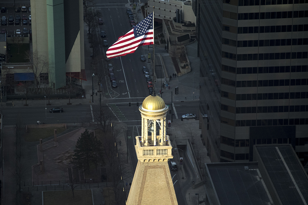 The D&F Tower seen from Denver's newest skyscraper, 1144 Fifteenth, March 22, 2018. (Kevin J. Beaty/Denverite)  denver; colorado; denverite; development; kevinjbeaty; downtown; central business district; skyline; cityscape; 16th street mall; skyline park;