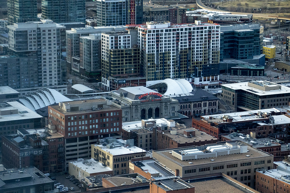 Union Station seen from Denver's newest skyscraper, 1144 Fifteenth, March 22, 2018. (Kevin J. Beaty/Denverite)