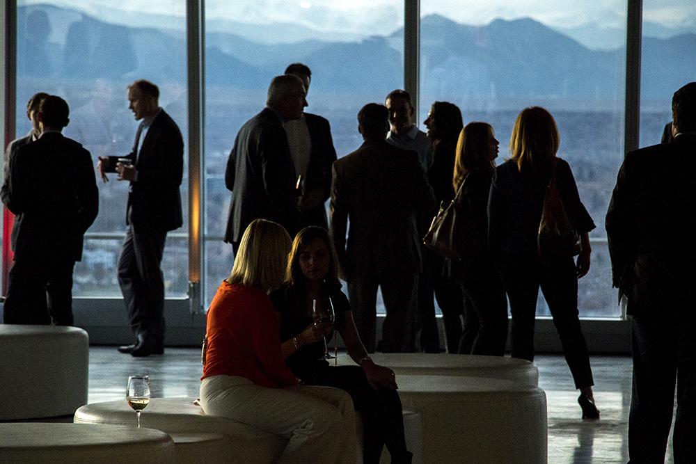 A party celebrating the opening of Denver's newest skyscraper, 1144 Fifteenth, March 22, 2018. (Kevin J. Beaty/Denverite)  denver; colorado; denverite; development; kevinjbeaty; downtown; central business district;