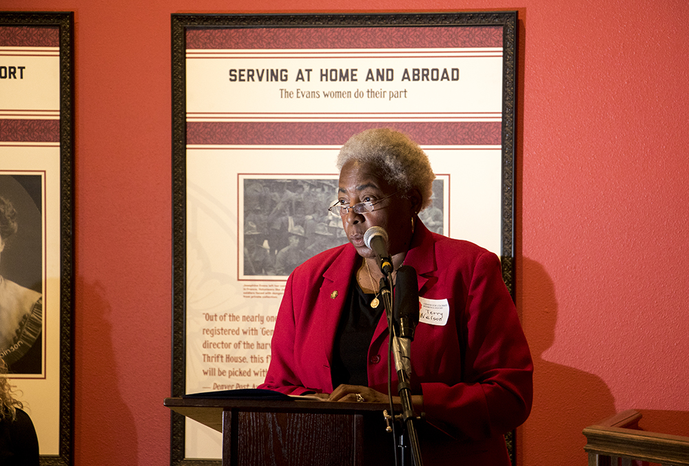 """Center for Colorado Women's History committee member and Blair-Caldwell African American Research Library Community Research Manager Charleszine """"Terry"""" Nelson speaks as the Center for Colorado Women's History opens at the Byers-Evans House, March 21, 2018. (Kevin J. Beaty/Denverite)  history; museum; denver; colorado; denverite; kevinjbeaty;"""