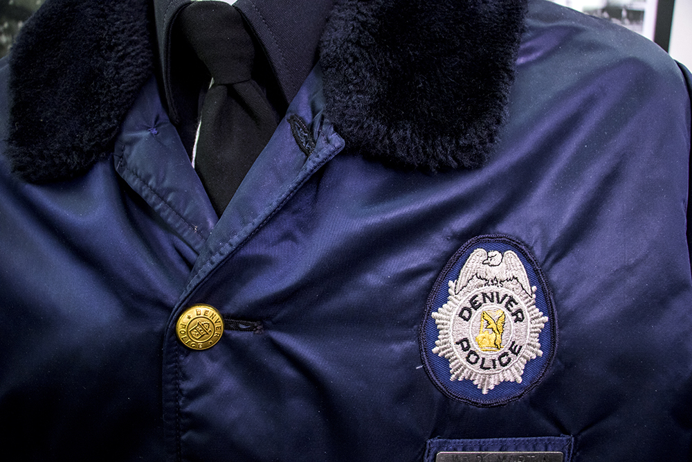 A fake police officer at the Denver Police Museum inside DPD headquarters, March 22, 2018. (Kevin J. Beaty/Denverite)