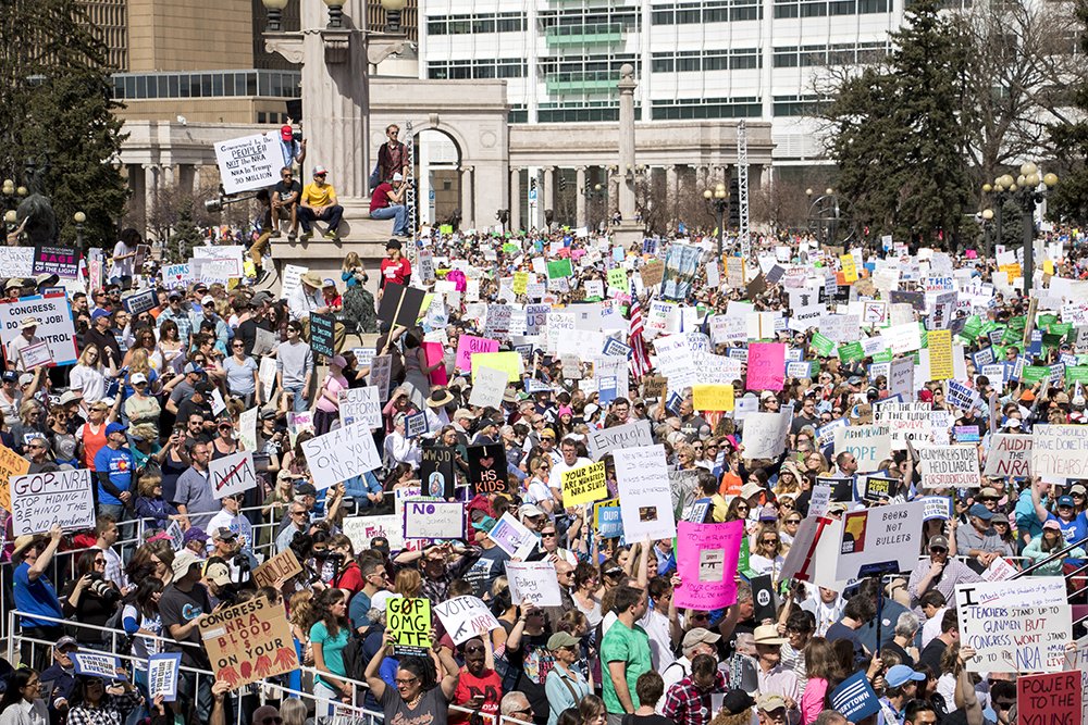 The March For Our Lives at Civic Center Park, March 24, 2018. (Kevin J. Beaty/Denverite)  protest; rally; gun violence; gun control; kevinjbeaty; denver; denverite; colorado;