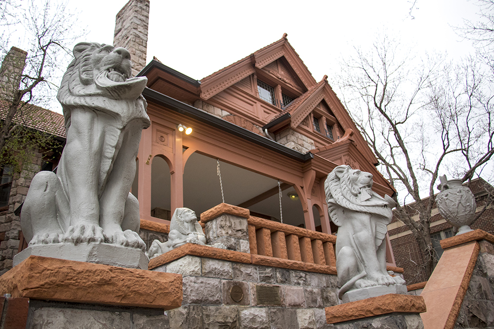 Stone lions outside the Molly Brown House, Capitol Hill. March 27, 2018. (Kevin J. Beaty/Denverite)