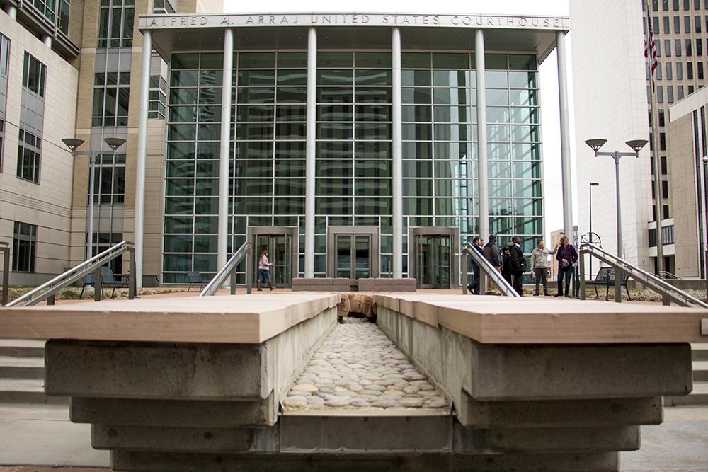 The Alfred A. Arraj federal courthouse, March 28, 2018. (Kevin J. Beaty/Denverite)  law; federal court; downtown; denver; denverite; kevinjbeaty; colorado;