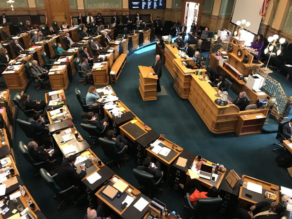 Rep. Steve Lebsock testifies before the legislature as it discusses a resolution to expel him following allegations of sexual harassment. (Esteban Hernandez/Denverite)