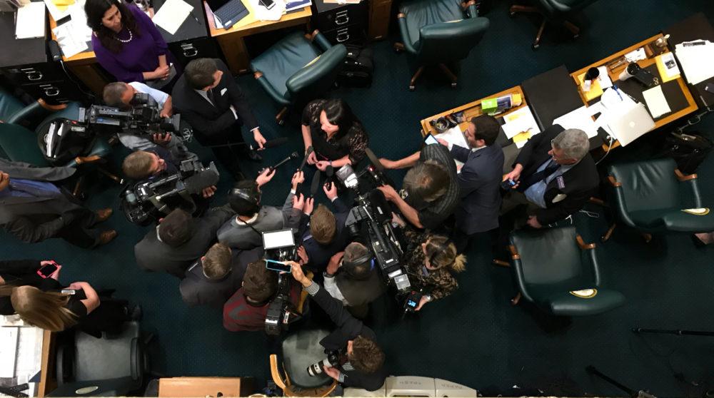 Press surround Rep. Faith Winter following the House vote expelling Rep. Steve Lebsock. (Esteban Hernandez/Denverite)
