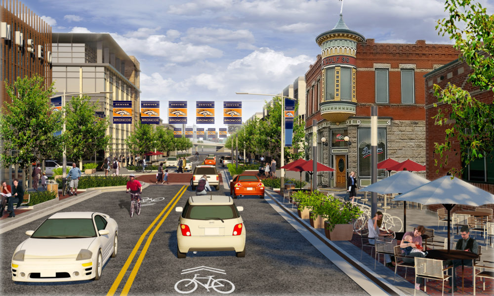 A rendering from the 2013 Decatur-Federal Station Area Plan depicting a possible future Old West Colfax streetscape. The station area looks nothing like this. (Courtesy of Denver CPD)