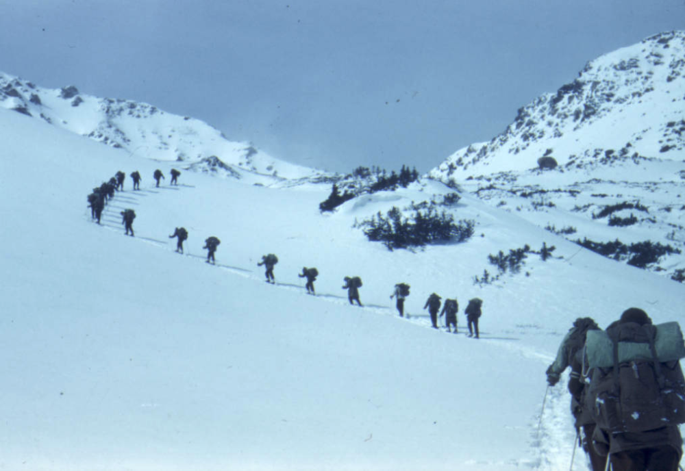 A Mountain Training Group trip from Leadville to Aspen, Colorado in Feb. 1944. (Richard A. Rocker/Is Part Of10th Mountain Division Resource Center Collection/Western History & Genealogy Dept./Denver Public Library/TMD-471)