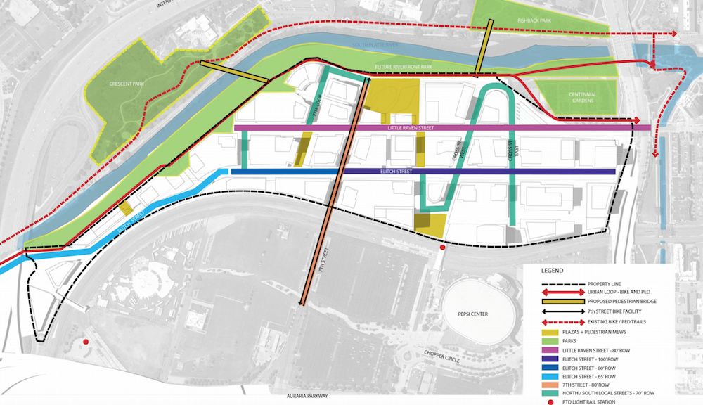 A section of an early concept master plan for River Mile infrastructure. (Revesco Properties)