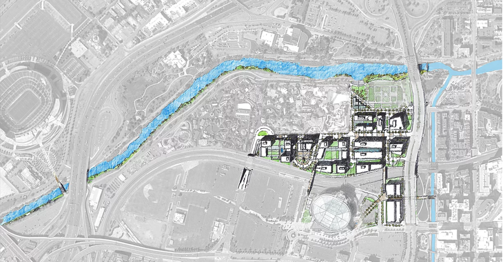 """A map of the first planned section of development for """"The River Mile"""" around the Elitch Gardens site. (Courtesy Revesco Properties)"""
