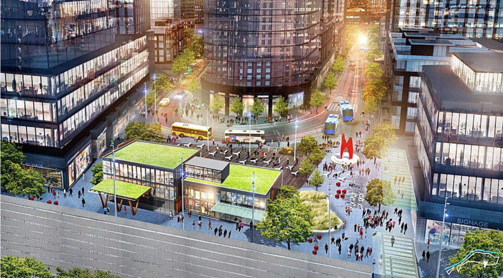 "A rendering of potential development envisioned as part of ""The River Mile"" in the Elitch Gardens area. (Courtesy Revesco Properties)"