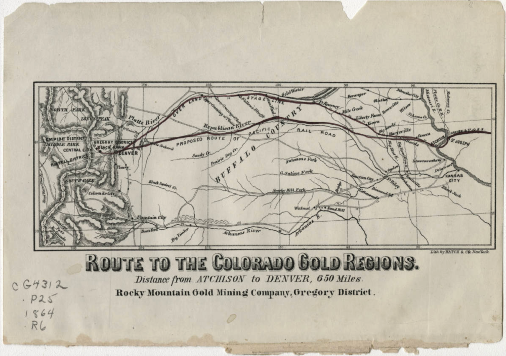 Route to the Colorado gold regions, 1864. (Rocky Mountain Gold Mining Co./Western History & Genealogy Dept./Denver Public Library/CG4312.P25 1854 .R6)