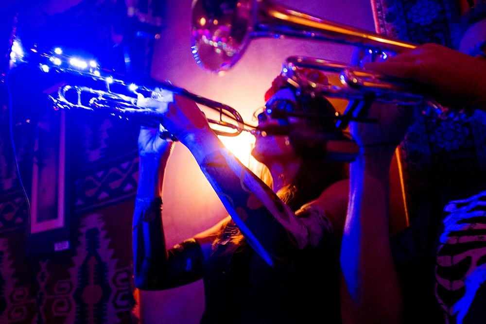 The Badda Boom Brass Band plays The Thin Man, Nov. 4, 2017. (Courtesy: Kevin J. Beaty)  nighlife; thin man; bars; food; city park west; denver; colorado; denverite; kevinjbeaty;