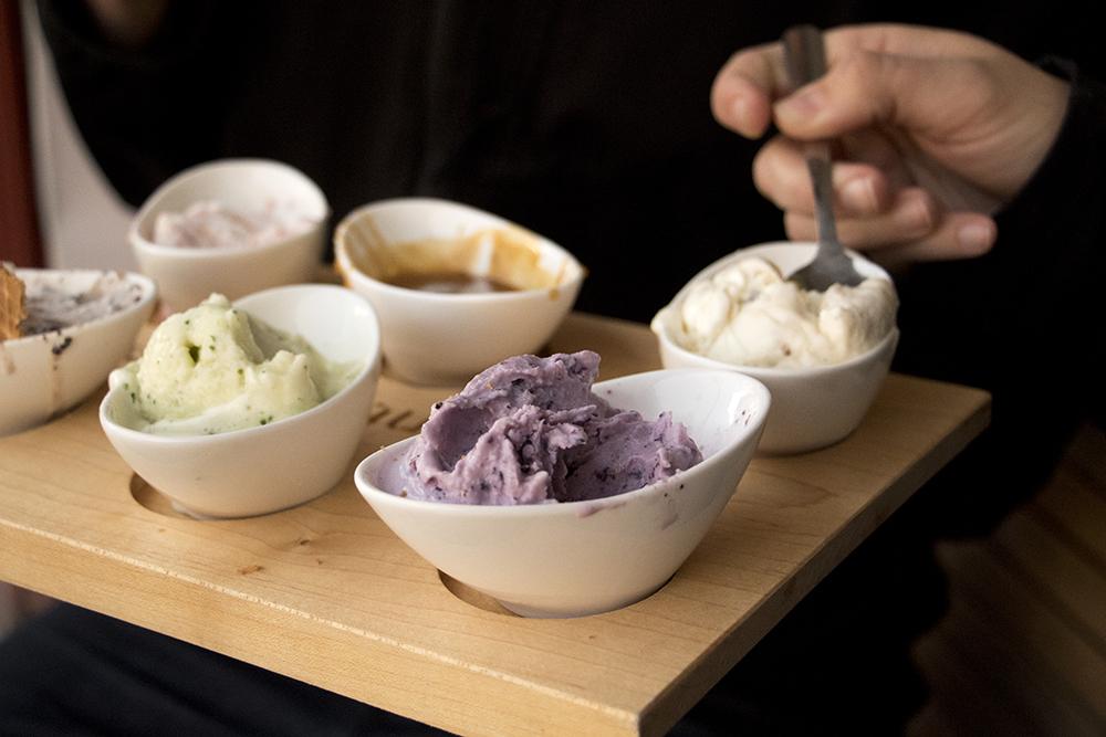 An ice cream flight at High Point Creamery on Tennyson Street, April 4, 2018. (Kevin J. Beaty/Denverite)  food; dessert; ice cream; berkeley; tennyson street; denver; denverite; kevinjbeaty; colorado;