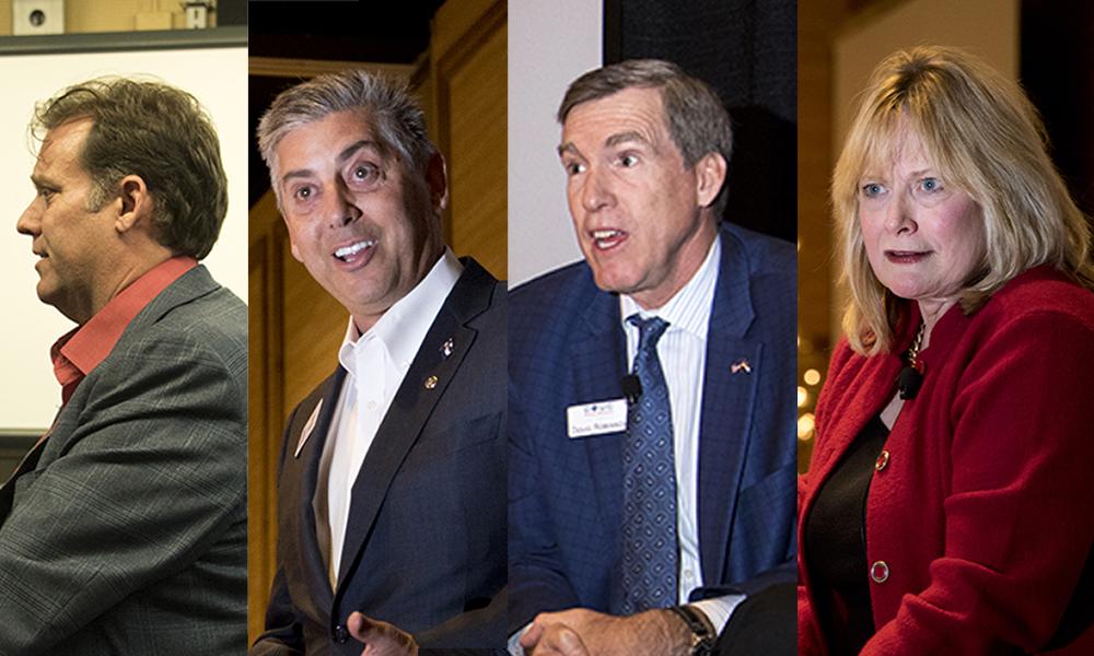 Republican gubernatorial candidates Stephen Barlock (left to right), Victor Mitchell, Doug Robinson and Cynthia Coffman. (Kevin J. Beaty/Denverite)  denver; colorado; denverite; kevinjbeaty; election; governors race; gubernatorial; candidate;