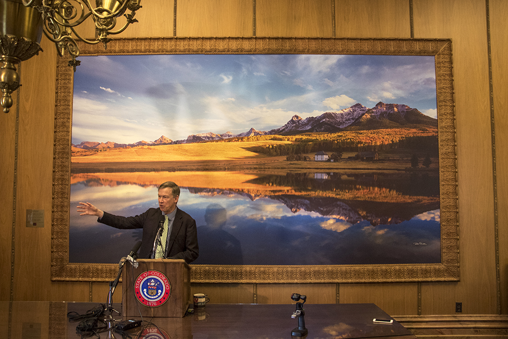 Governor John Hickenlooper speaks to the press in his office, April 12, 2018. (Kevin J. Beaty/Denverite)  copolitics; john hickenlooper; denver; denverite; kevinjbeaty; colorado;