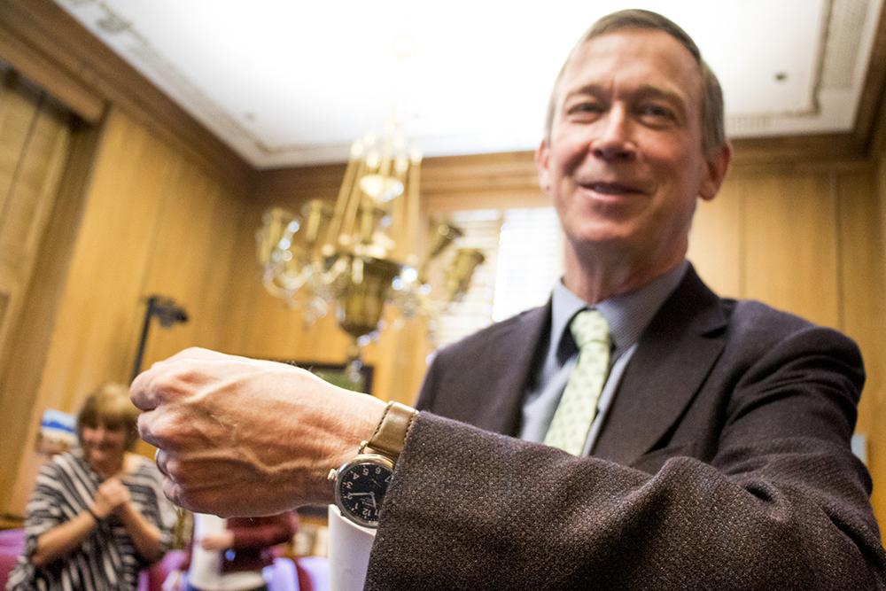 Governor John Hickenlooper's watch, April 12, 2018. (Kevin J. Beaty/Denverite)  copolitics; john hickenlooper; denver; denverite; kevinjbeaty; colorado; hickenwatcher; hickwatch;
