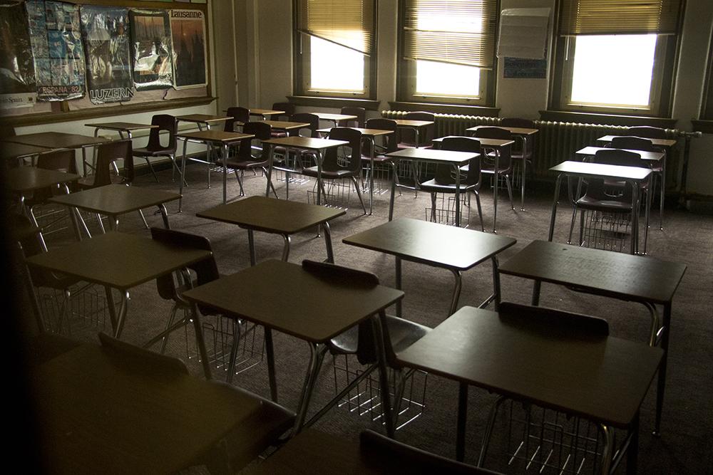 A classroom inside South High School, April 13, 2018. (Kevin J. Beaty/Denverite)  denver; colorado; south high school; education; school; classroom; denverite; kevinjbeaty;