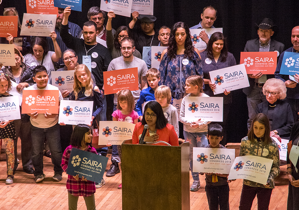 2018 Democratic Congressional District 1 candidate Saira Rao speaks on stage during an at South High School, April 13, 2018. (Kevin J. Beaty/Denverite)  copolitics; election; politics; denver; denverite; delegates; democrats; kevinjbeaty; colorado;