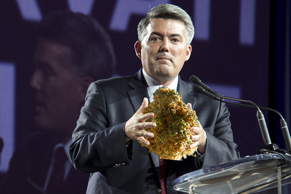 The base photo in this illustration comes from Senator Cory Gardner speech at the Western Conservative Summit, July 21, 2017. (Kevin J. Beaty/Denverite)  western conservative summit; wcs; protest; cory gardner; marijuana; denver; denverite; kevinjbeaty; photoillustration;
