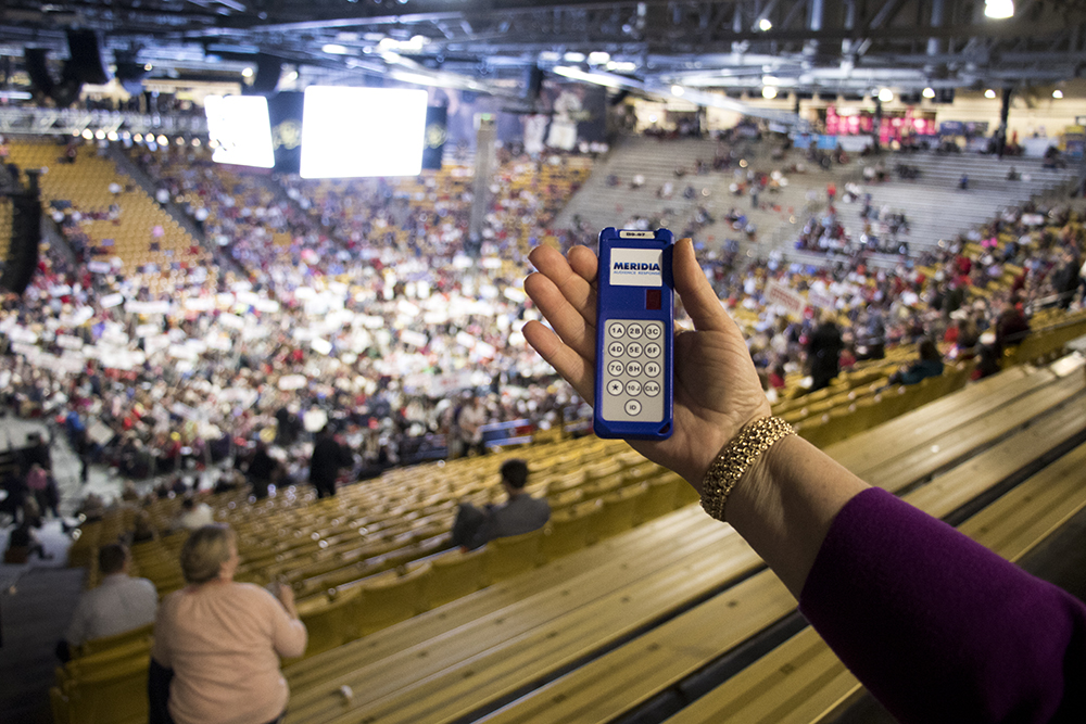 A voting clicker at the 2018 Republican State Assembly on the campus of the University of Colorado Boulder, April 14, 2018. (Kevin J. Beaty/Denverite)  copolitics; boulder; colorado; election; politics; kevinjbeaty; denverite;