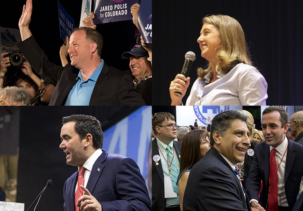 Jared Polis (clockwise from top left), Cary Kennedy, Greg Lopez and Walker Stapleton. (Kevin J. Beaty and Esteban L. Hernandez/Denverite)  copolitics; colorado; politics; election; kevinjbeaty; denverite;