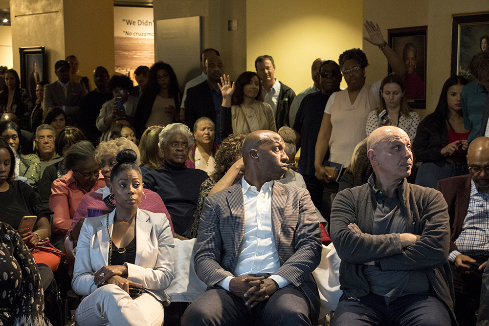 Many members of the communtiy raised concerns about the future of the neighborhood in the face of rapid development and gentrification. Developers meet with the Five Points community to announce new plans for the Rossonian Hotel. Blair-Caldwell African American Research Library, April 16, 2018. (Kevin J. Beaty/Denverite)  denver; colorado; denverite; five points; development; welton street; kevinjbeaty;