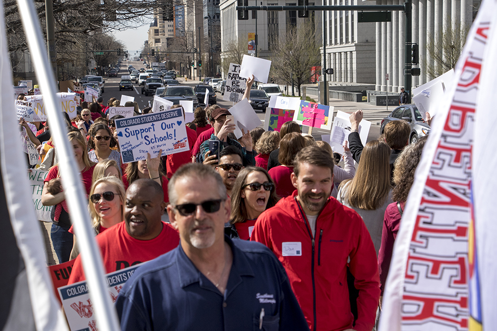 Colorado teachers walked out and rallied at the State Capitol to protest a lack of school funding, April 16, 2018. (Kevin J. Beaty/Denverite)  denver; colorado; protest; education; teacher strike; denverite; kevinjbeaty; teachers;