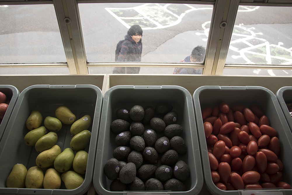 Fresh food for sale at Any Street Grocery, which is currently parked at McGlone Academy, an elementary school in Montbello, April 24, 2018. (Kevin J. Beaty/Denverite)  food insecurity; food desert; grocery store; farmer's market; farmers market; montbello; denver; colorado; denverite; kevinjbeaty;