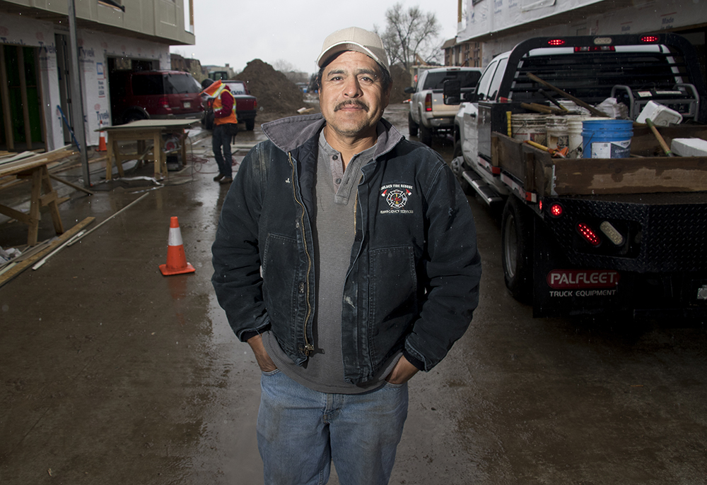Dario Mendoza, a concrete subcontractor who's been in construction for 18 years, on a Denver Design Build LLC construction site in Arvada, April 24, 2018. (Kevin J. Beaty/Denverite)  construction; development; arvada, denverite; kevinjbeaty; colorado;