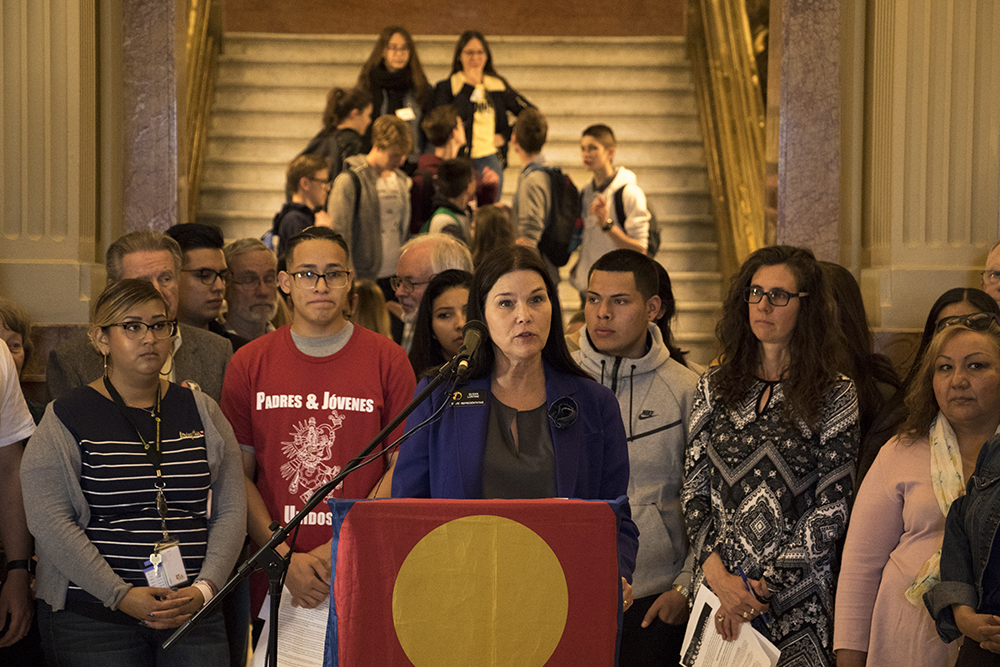 "Colorado State Representative Susan Lontine speaks in support of ""Virginia's Law,"" HB18-1417, at the State Capitol, April 25, 2018. (Kevin J. Beaty/Denverite)  immigration; denver; denverite; kevinjbeaty; colorado;"