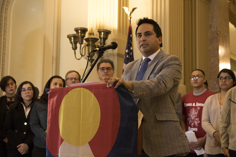 """Colorado State Representative Dan Pabon speaks in support of """"Virginia's Law,"""" HB18-1417, at the State Capitol, April 25, 2018. (Kevin J. Beaty/Denverite)  immigration; denver; denverite; kevinjbeaty; colorado;"""