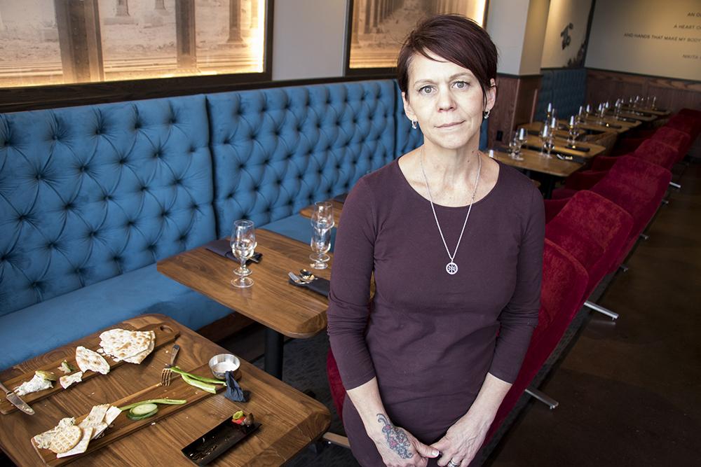 Lisa Ruskaup, founder and operating partner of the Dead Battery Club in her new Platte Street location, April 26, 2018. (Kevin J. Beaty/Denverite)  denver; colorado; denverite; kevinjbeaty; food; bars; nightlife; highland;