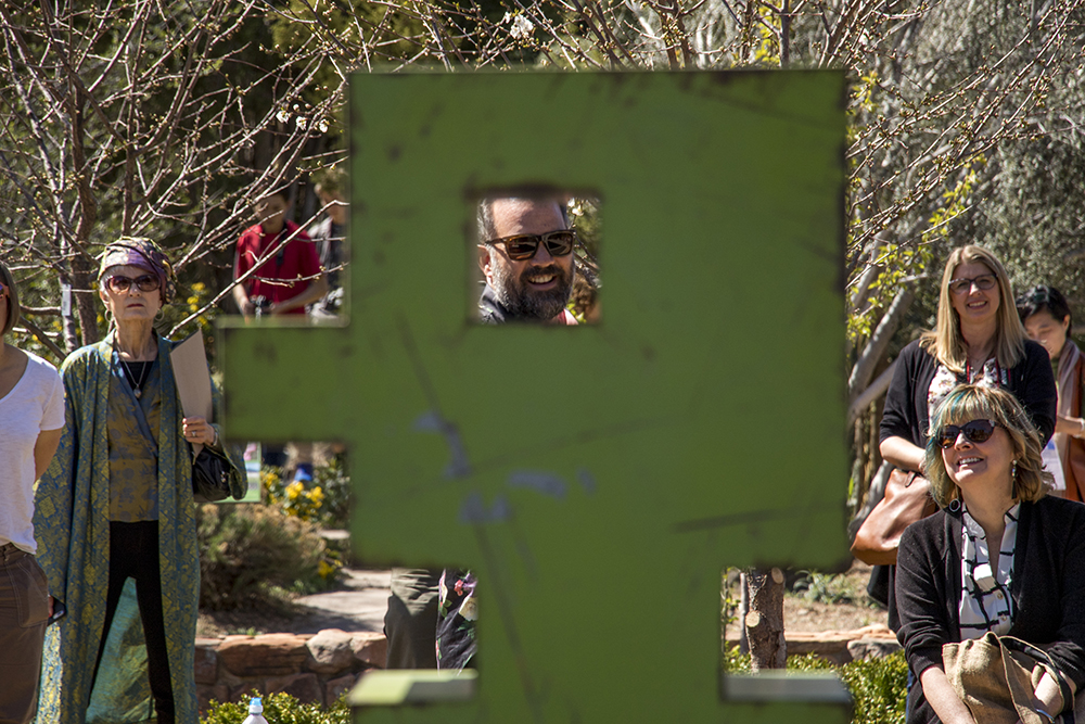 "Artist Mike Whiting gives a tour of his new exhibit, Pixelated, at the Denver Botanic Gardens, April 27, 2018. This is ""Mr. Green."" (Kevin J. Beaty/Denverite)  art; sculpture; denver botanic gardens; dbg; colorado; denver; denverite; kevinjbeaty;"