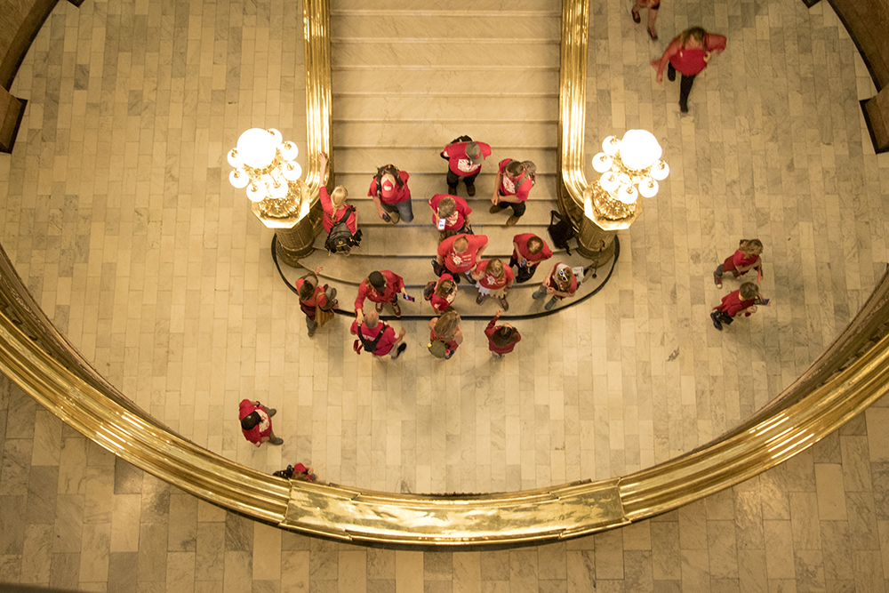Protesters fill the State House in protest of a lack of funding for schools, April 27, 2018. (Kevin J. Beaty/Denverite)  redfored; education; teachers; protest; denver; colorado; denverite; kevinjbeaty;