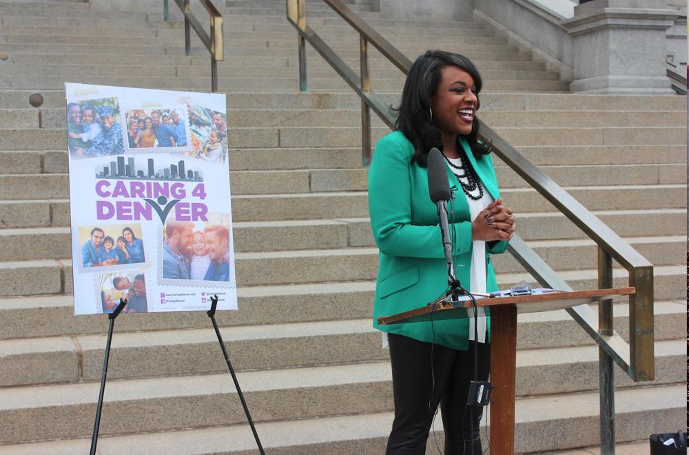 Rep. Leslie Herod announces the Caring 4 Denver campaign. (Courtesy Caring 4 Denver)
