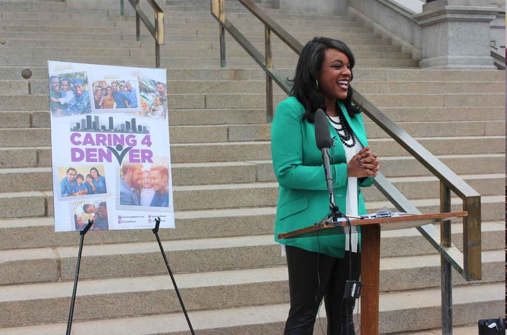 Rep. Leslie Herod announces the Caring 4 Denver campaign. (Courtesy Caring 4 Denver)