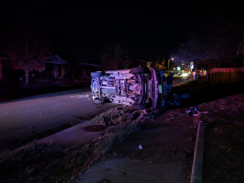 A car crashed near Platt Park during a blackout on the night of April 17. (Courtesy Ben Schumacher)