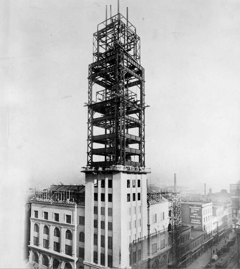 View of the Daniels and Fisher Stores Company tower, in Denver, Colorado, during construction. (Denver Public Library/Western History Collection/X-22925)
