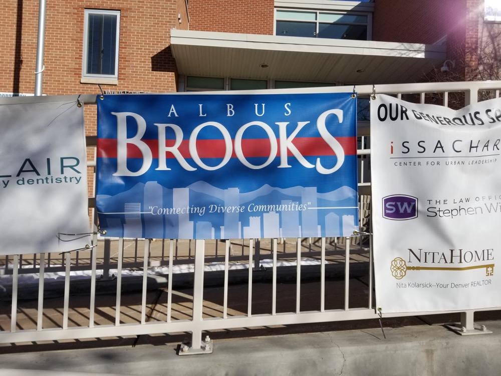 An Albus Brooks banner at Whittier Elementary School. (Courtesy Jason Legg)